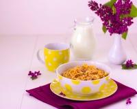 Frukostera inkludera mysli och mjölka royaltyfri foto