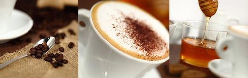 Frukostera koppen med cappuccino, kaffebönor och honung Arkivbilder