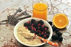 Frukostera med björnbär, gojifrö och orange fruktsaft Arkivfoto