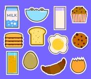 Frukostera ny mat, och drinkar sänker symboler ställer in med illustrationen för vektorn för koppen för te för fruktsaft för kaff stock illustrationer
