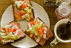 frukostera smörgåstea Royaltyfri Foto