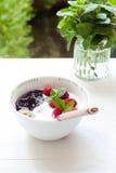 Frukosthavregröt, morgonljus som är utomhus- royaltyfri fotografi