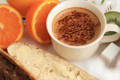 frukostkaffefrukter Royaltyfri Fotografi