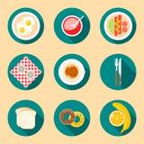Frukostmat och drinksymboler i plan stil Royaltyfria Foton