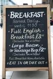 frukostmeny Arkivfoto