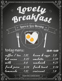 Frukostmeny på den svart tavlan vektor illustrationer