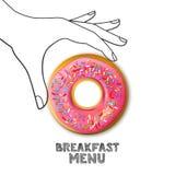 Frukostmenybegrepp Rosa munk i den hand drog mänskliga handen som isoleras på vit bakgrund Vektormatillustration stock illustrationer
