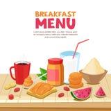Frukostmenydesign, vektortecknad filmillustration Smörgåsen för jordnötsmör, te, kaffe rånar, havremjölet på trätabellen vektor illustrationer