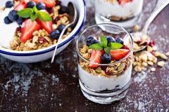 Frukostparfait med hemlagad granola Royaltyfria Bilder