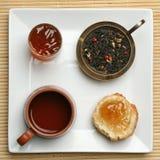 frukostplatstea Arkivfoto