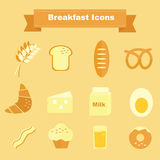 Frukostsymboler och matlagningingredienser Royaltyfria Foton