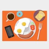 Frukostsymboler sänker uppsättningen med kaffetid vektor illustrationer
