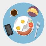 Frukostsymboler sänker uppsättningen med kaffetid stock illustrationer
