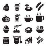Frukostsymboler set1 Fotografering för Bildbyråer