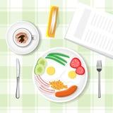 Frukosttabellen, havregröt, korven, kopp rånar med bästa sikt för jaröstkaffe vektor illustrationer