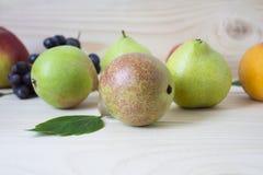 Frukt av nedgången av hösten äpplen, päron, blåa druvor, persikor och juicе Bakgrund frukt med det gröna bladet Arkivfoto