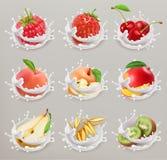 Frukt, bär och yoghurt symbolsuppsättning 1 för vektor 3d vektor illustrationer