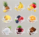 Frukt, bär och yoghurt symbolsuppsättning 2 för vektor 3d stock illustrationer