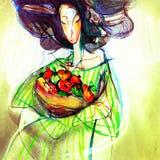 Frukt- dam som drar på papper Arkivbilder