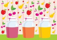frukt för äpplekortcherrie skakar jempears Arkivfoton