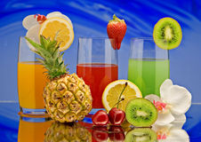 frukt för 3 coctailar Royaltyfri Fotografi