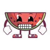 Frukt för Kawaii humoristisk skivavattenmelon vektor illustrationer