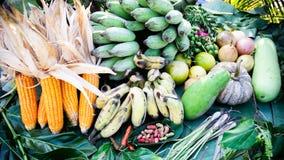 Frukt, grönsak, mat, thai landssidofrukt och grönsak arkivbild