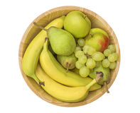 Frukt i en träbunke Royaltyfri Fotografi