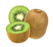 frukt isolerad kiwi Helhet och klippt kiwi som isoleras på vit bakgrund med den snabba banan Arkivfoto