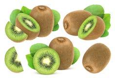 frukt isolerad kiwi Samling av den hela och klippta kiwin som isoleras på vit bakgrund Fotografering för Bildbyråer