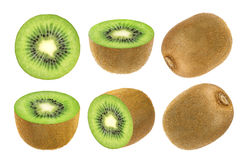 frukt isolerad kiwi Samling av den hela och klippta kiwin som isoleras på vit bakgrund med den snabba banan Fotografering för Bildbyråer
