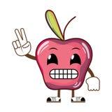 Frukt Kawaii humoristisk för läckert äpple royaltyfri illustrationer
