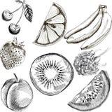 Frukt klottrar den sömlösa vektorn Royaltyfri Fotografi