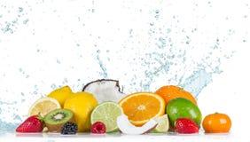 Frukt med vattenfärgstänk royaltyfria bilder