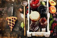 Frukt och bäret sitter fast och syrliga stycken av frukt Arkivfoto