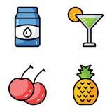 Frukt- och drinkvektorpacke vektor illustrationer