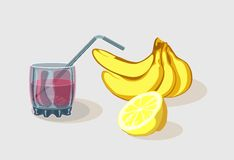 Frukt och ett exponeringsglas av drinken stock illustrationer