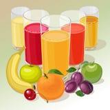 Frukt och fruktsaft Arkivbild