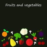 Frukt- och grönsakbakgrund stock illustrationer