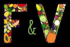 Frukt- och grönsakbokstäver Royaltyfria Bilder