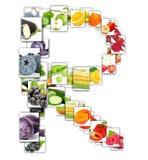 Frukt- och grönsakbokstav Fotografering för Bildbyråer