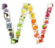Frukt- och grönsakbokstav Arkivbild