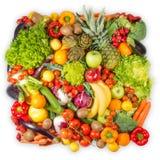 Frukt och grönsakcollage på vit bakgrund royaltyfri foto