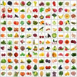 Frukt och grönsakcollage på vit bakgrund royaltyfria bilder