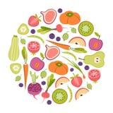 Frukt- och grönsakdesignbeståndsdel Arkivfoton