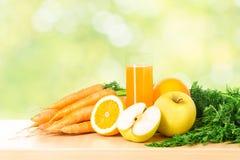 Frukt och grönsakfruktsaft i exponeringsglas Arkivfoto