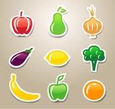 Frukt- och grönsakklistermärkear Arkivbilder