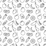 Frukt- och grönsaklinje sömlös modell för stil Frukter och grönsaker klottrar den sömlösa modellen Frukt- och grönsaköversiktslod Arkivfoto