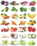 Frukt- och grönsaksamlingen isolerade orange grönsallat c för äpplet royaltyfri fotografi
