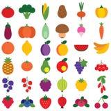 Frukt- och grönsakuppsättning Arkivbild